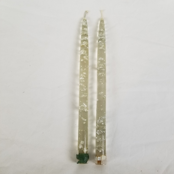 MCM Lucite Candlestick Sliver Flake Acrylic  Pair